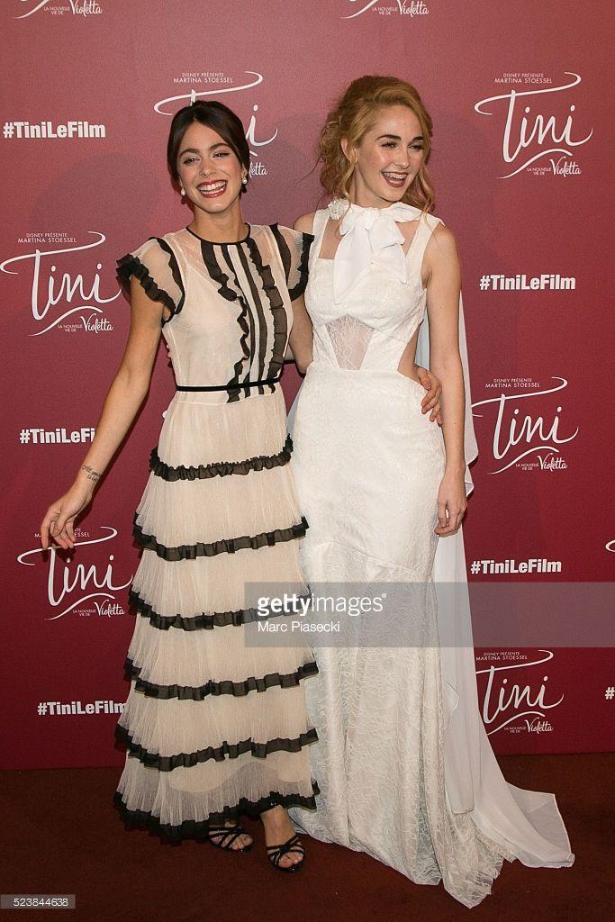 Actresses Martina Stoessel and Mercedes Lambre attend the 'Tini, la nouvelle vie de Violetta' Premiere at UGC Cine Cite La Defense on April 24, 2016 in Paris, France.