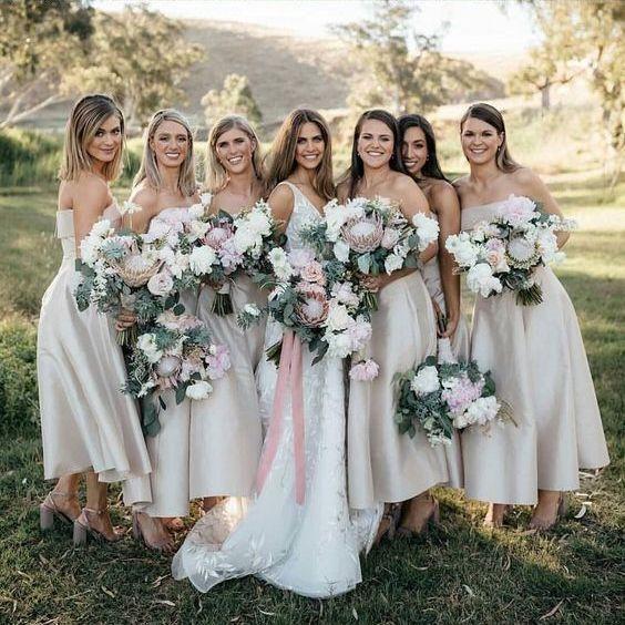 2ced5fcc333 Simple Dusty Strapless Tea Length Bridesmaid Dresses