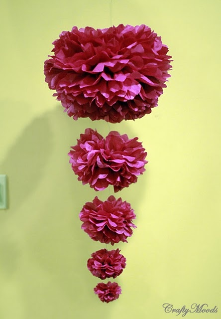 Cascading Pom Poms...: Parties Wedding, Paper Pom Pom, Wedding Decor, Pompom, Hanging Flowers, Paper Flowers, Tissue Paper Pom, Tissue Pom Pom, Parties Ideas