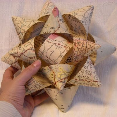 Upcycled Big Paper Bows Tutorial: festive wrapping made from old maps and more