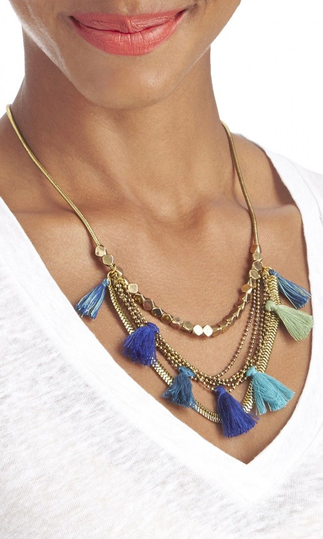 Antique gold-plated brass chain necklace with blue, green and teal cotton tassels