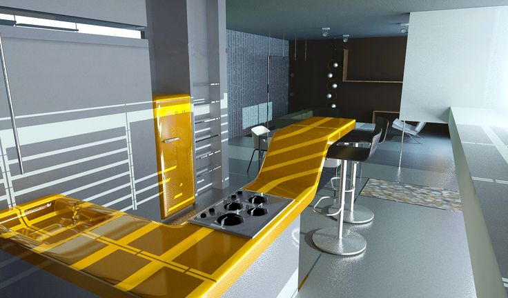 kitchen for a house  rendering with mental ray in 3ds max