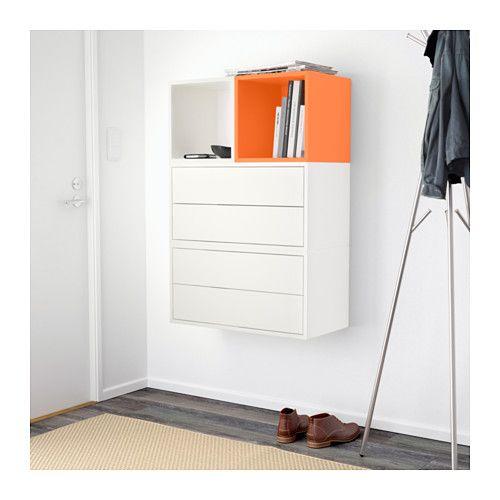 EKET Wall-mounted cabinet combination - white/orange - IKEA