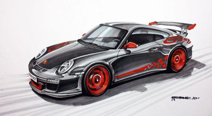 Porsche 911 GT3 RS Markers 50x35cm 2010yrs  Nikodem Sabak