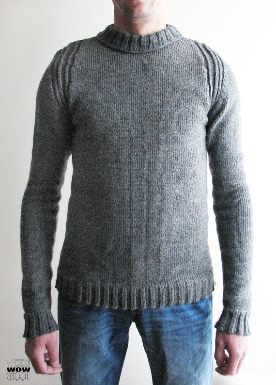 Gray sweater man's sweater male sweater jumper warm by WoodWowWool