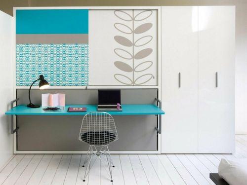 Farbgestaltung fürs Jugendzimmer – 100 Deko- und Einrichtungsideen - klapptisch kleiderschrank tischlampe bürotisch modern