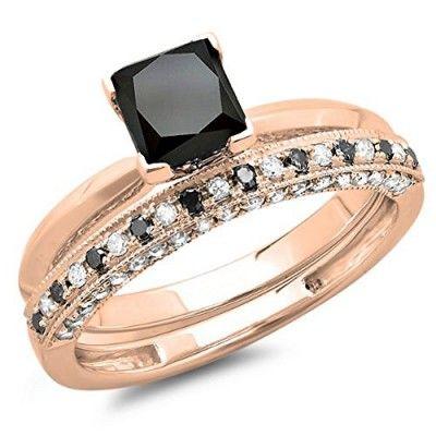 DazzlingRock Rings,  1.50 Carat (ctw) 10K Rose Gold Black & White Diamond Bridal Engagement Ring Set 1 1/2 CT (Size 4)