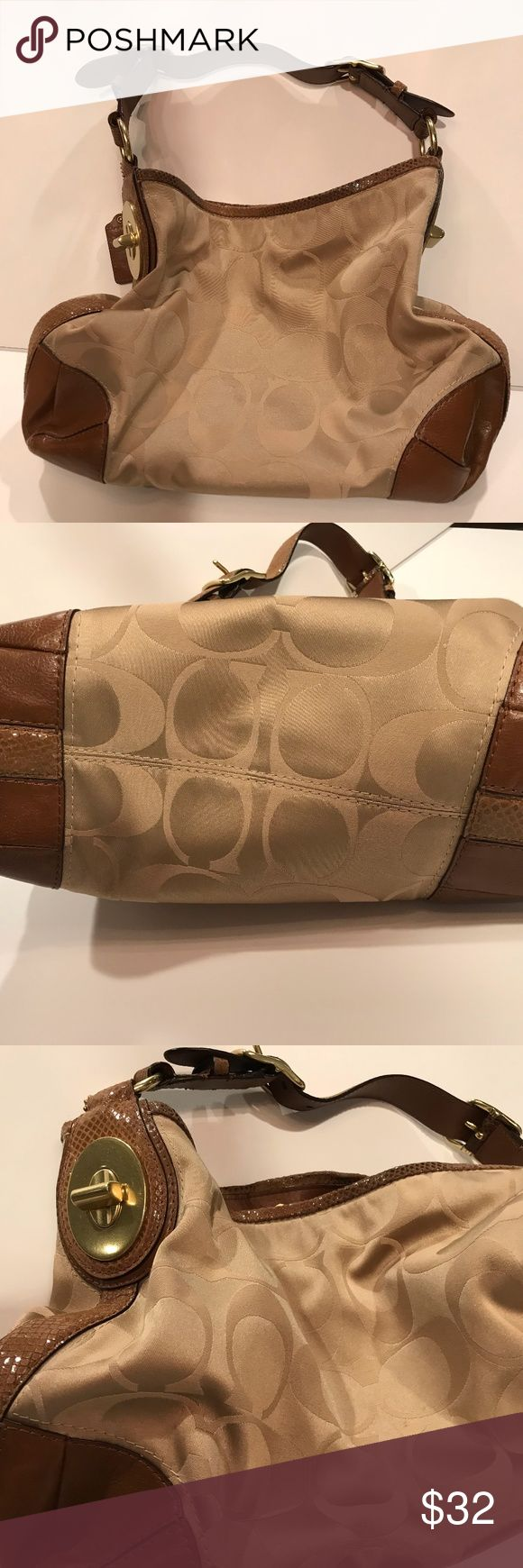 Coach Hobo Bag Classic Coach!  Creme/Beige soft satin with leather/snakeskin trim & shoulder strap.  Gold tone hardwear with no signs of wear.  This bag was barely ever taken out.  Dust bag included. Coach Bags Hobos