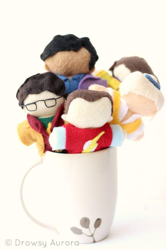 Set of The Big Bang Theory Felt Dolls - Sheldon, Leonard, Penny, Raj, Howard - Geekery, Chibi, Plush Figurine - by Drowsy Aurora on Etsy