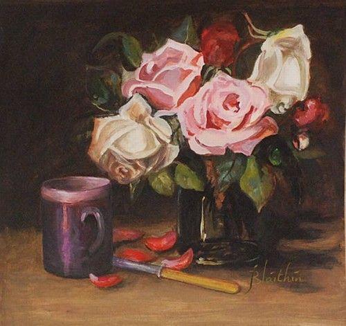 "Blathin, ""Still Life with Cup"" #art #flowers #StillLife #pastel #DukeStreetGallery"