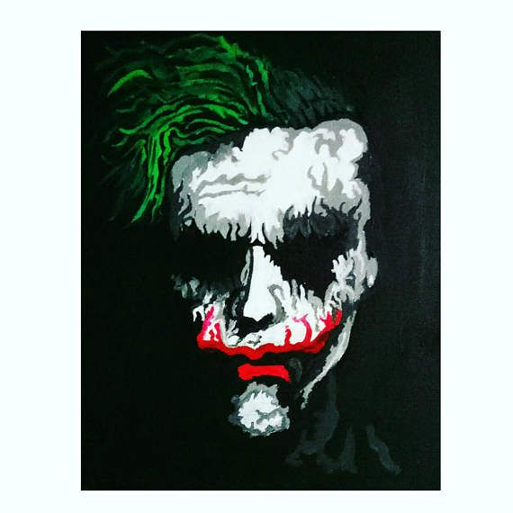 Joker Dark Knight Heath Ledger Portrait on Canvas Painting