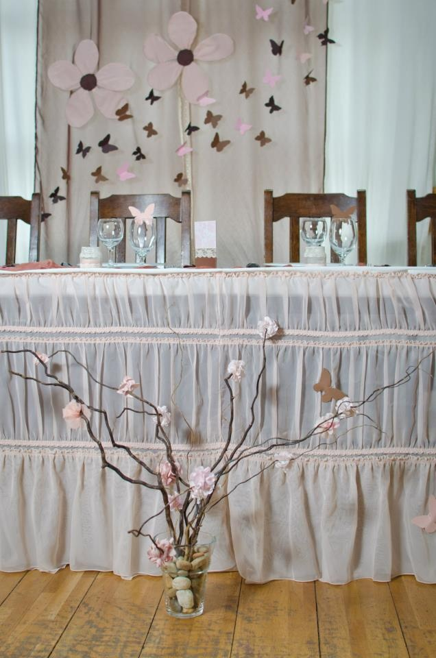 I like these colors and the branches with the flowers and butterflies in them            My DIY wedding decoration ... table and background