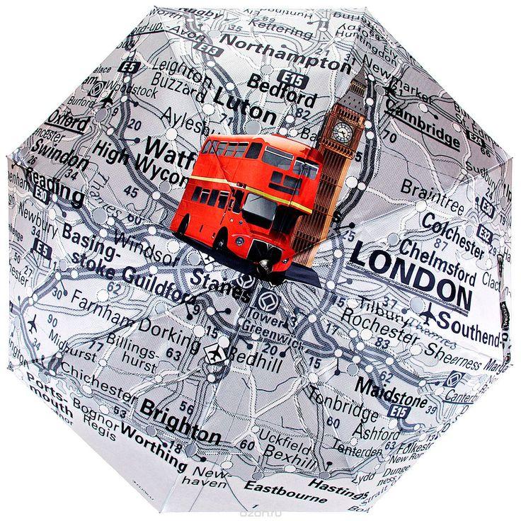 """Зонт Flioraj """"Карта Лондона"""", автомат, 3 сложения от Flioraj и другие аксессуары по доступным ценам в интернет-магазине OZON.ru - доставим в любую точку России."""