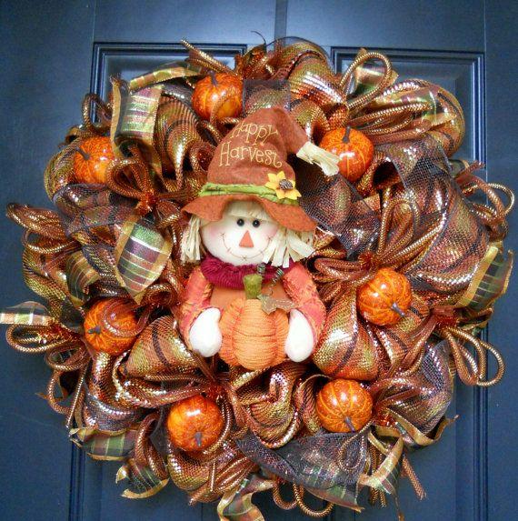 Fall Harvest Wreath w/ FREE WREATH HANGER, Poly Deco Mesh, Fall Wreath, Brown Gold Copper Orange, Autumn Wreath, Pumpkin