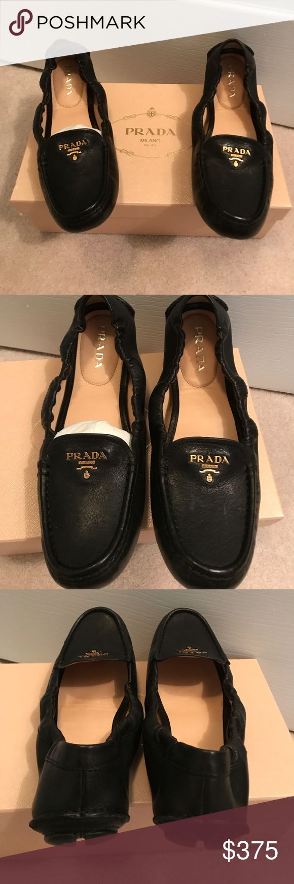 Prada scrunch driving loafer Brand new, never worn Prada leather scrunch driving loafers in black with gold letter detail. Comes with dust bag and Prada box. I can provide additional photos upon request. Prada Shoes Flats & Loafers