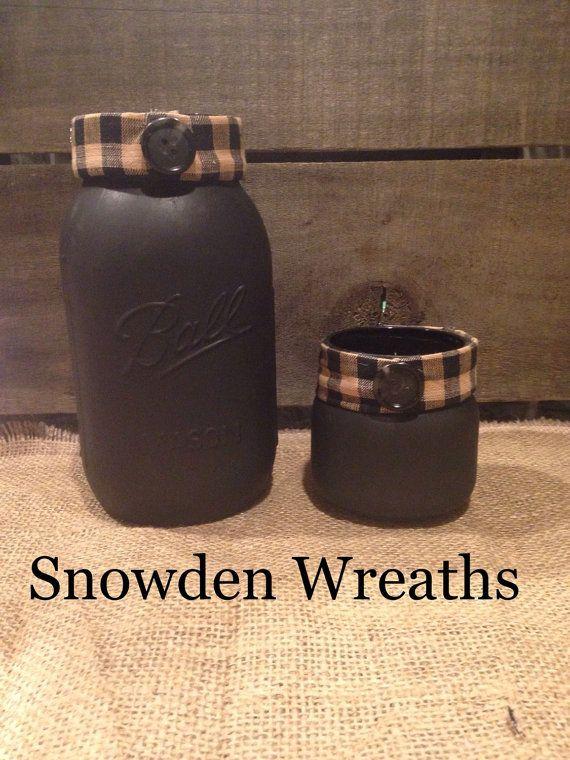 Primitive Mason Jar Set Americana Jar Set rustic by SnowdenWreaths
