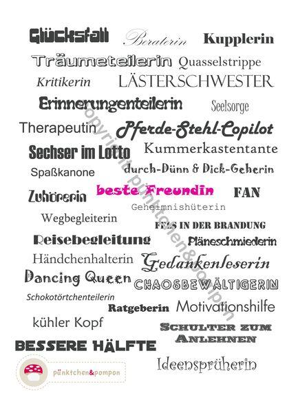 Wortgewaltige Karte für die beste Freundin von pünktchen&pompon auf DaWanda.com