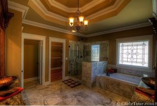 Mediterranean Master Bathroom with Master bathroom, specialty door, Frameless Shower Doors By Dulles Glass and Mirror