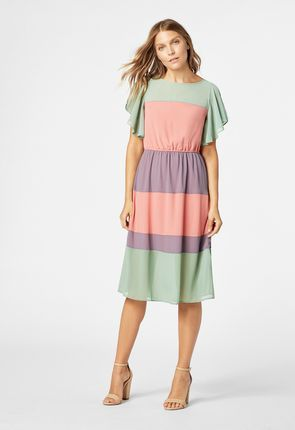 9d954463b849 Colorblock Midi Dress | style file | Dresses, Color blocking ...