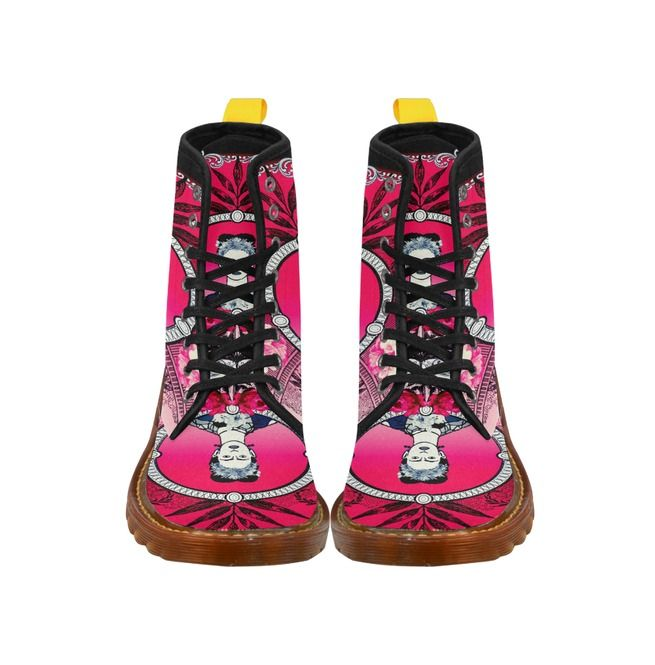 Rebelsmarket funky red and black frida kahlo with vintage flowers canvas boots boots 2