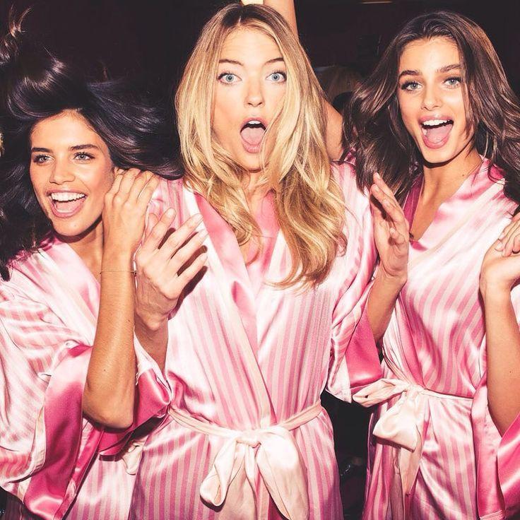 Angels Sara Sampaio. Martha Hunt and Taylor Marie Hill  at the Victoria's Secret Fashion Show 2015 backstage  | #victoriassecret #vsfs #VSFS_2015