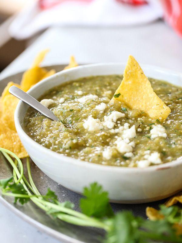 How to Make Hatch Chile Salsa Verde #recipe on foodiecrush.com
