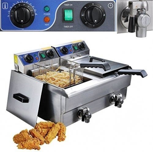 200.00$  Buy here - http://aierq.worlditems.win/all/product.php?id=32767485431 - new 20L Commercial Deep Fryer Countertop Stainless Steel Dual Tank Restaurant with Digital Timer and Drain