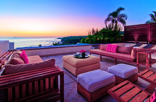 Outdoor relaxation with a viewBeach House, The View, Dreams House, Pink, Places, Patios, Ocean View, Backyards, Oceanview