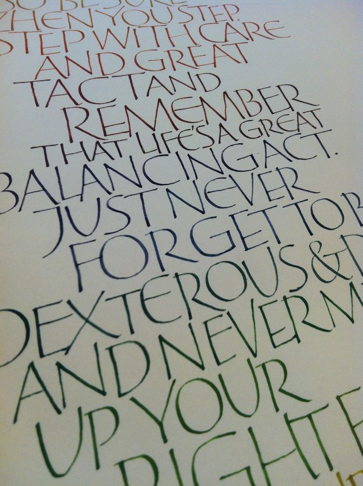 Calligraphy practice amity parks words and