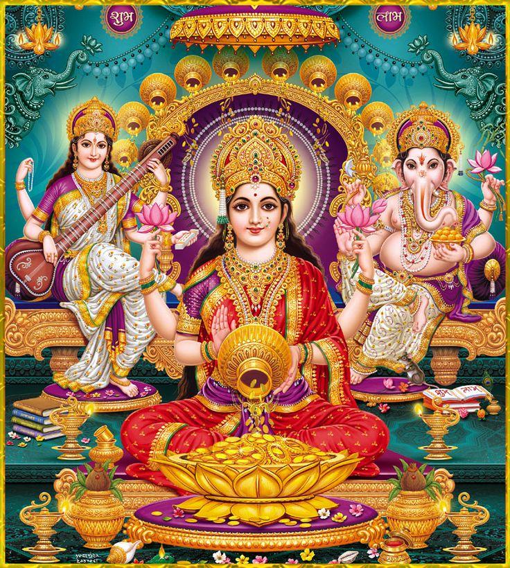 harekrishna108: Shri Lakshmi Devi, Saraswati Devi, Ganesh ॐArtist: Yogendra Rastogi