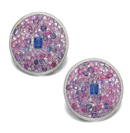 Pair of sapphire, fancy coloured sapphire and diamond ear clips, Michele della Valle:  Each of bombé design, pavé-set with a step-cut sapphire and variously shaped pink and purple sapphires, and brilliant-cut diamonds, each signed MdV, numbered, collapsible post and hinged back fittings.