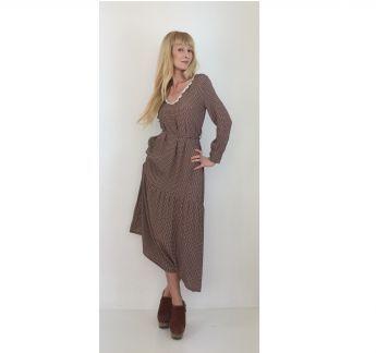 Desenli Retro Elbise Retro Patterned Dress