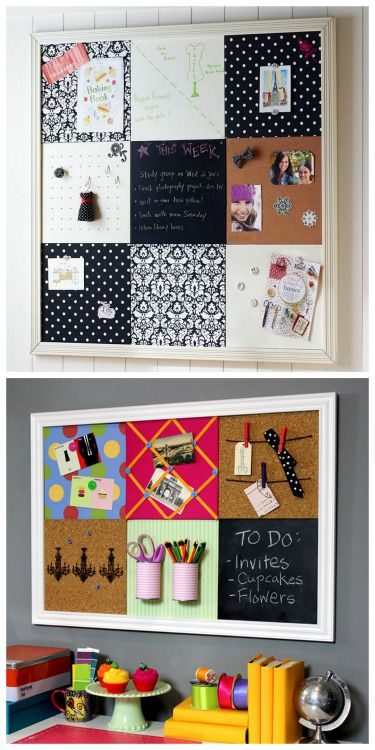DIY Pottery Barn Teen Knockoff Bulletin Board Tutorial from Jonathan Fong.   This is a practical yet fun modular DIY Bulletin Board inspired by Pottery Barn Teen. Using just cork board and galvanized steel (from the hardware store), you can have a bulletin board withcork, storage, magnetic, chalkboard (chalkboard contact paper), and ribbon tiles.     Top Photo: $414 Pottery Barn Teen Black Damask Style Tile 2.0 Set.    Bottom Photo: DIY by Janathan Fong.       For more DIY Bulletin Boards…