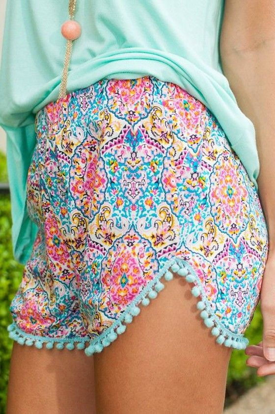 Pink Floral Print Tassel Sexy Lace Wool Ball Elastic Waist Shorts