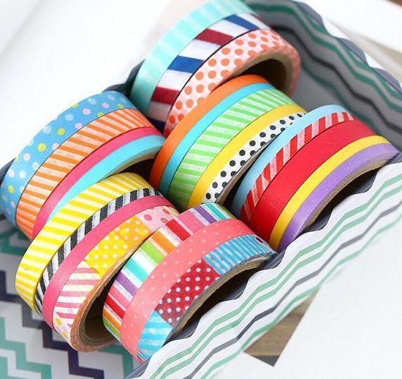 Washi Tape Rolls  5m Slim Washi Tape  Set by AaishasCreativeMess