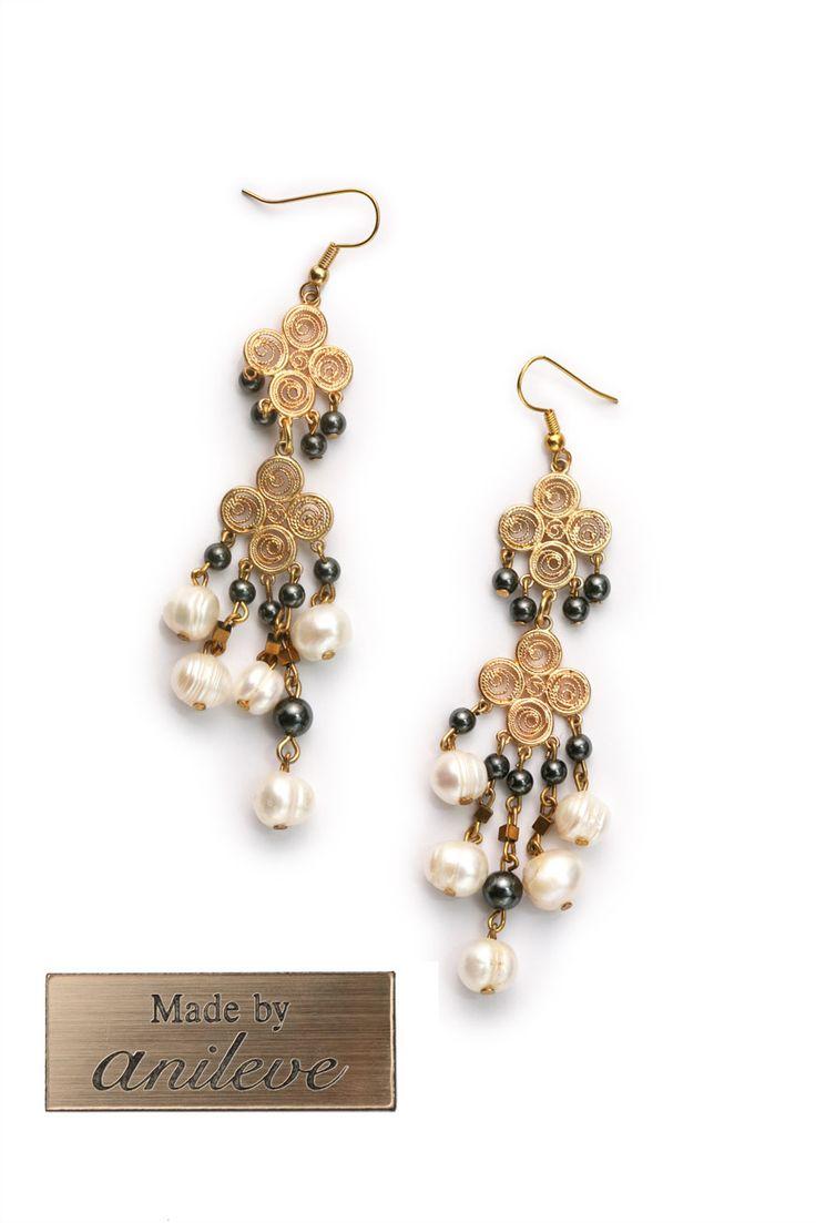 Incredible earrings Gold Platted Hypoallergenic Hematitis stones and Fresh Water Pearls   #greek4chic #anileve #earrings