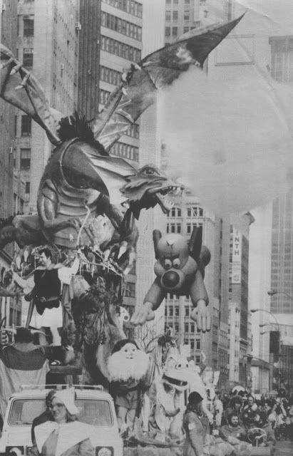 Rankin/Bass-historian: Rankin/Bass' The Hobbit float in the 1977 Macy's Thanksgiving day parade Orson Bean was on the float.  Shared by our friend Bill Smith C. 2016 Miser Bros Press/Rick Goldschmidt Archives