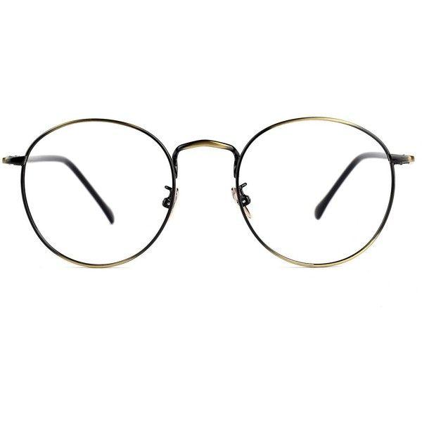 Amazon.com: TIJN Retro Round Metal Frame Thin Optical Eyeglasses Eye... ($19) ❤ liked on Polyvore featuring accessories, eyewear, eyeglasses, retro eyeglasses, retro style glasses, rounded glasses, metal frame glasses and retro glasses