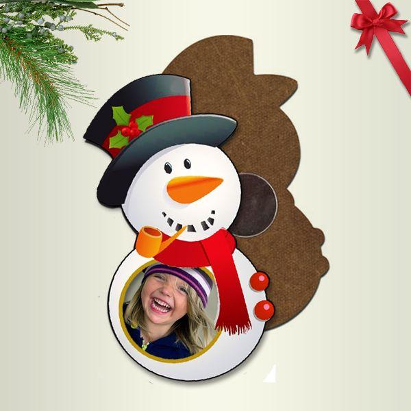 Fényképes karácsonyi hűtőmágnes - hóember