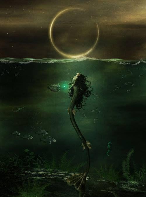 mermaid, moon, night, ocean