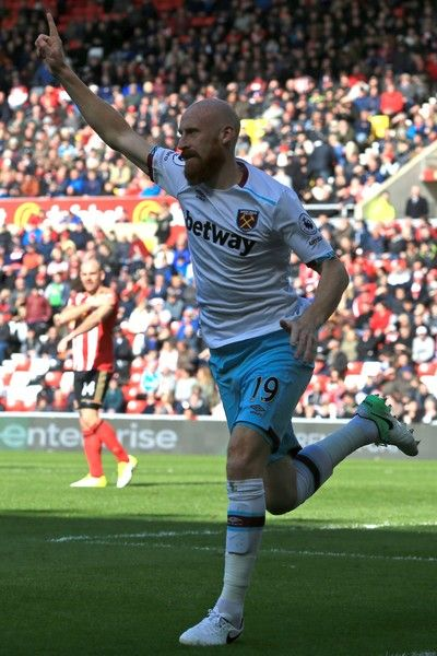 West Ham United's Welsh defender James Collins celebrates scoring West Ham's second goal during the English Premier League football match between Sunderland and West Ham United at the Stadium of Light in Sunderland, north-east England on April 15, 2017. / AFP PHOTO / Lindsey PARNABY / RESTRICTED TO EDITORIAL USE. No use with unauthorized audio, video, data, fixture lists, club/league logos or 'live' services. Online in-match use limited to 75 images, no video emulation. No use in betting…