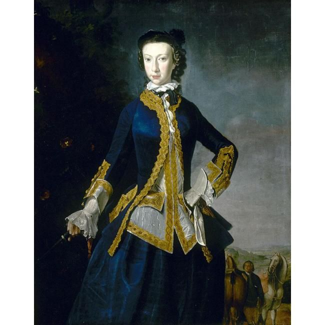 American Duchess: 18th Century Riding Habit Waistcoats for Women  Robert Harvie, portrait of a lady in a blue coat and skirt, c. 1747