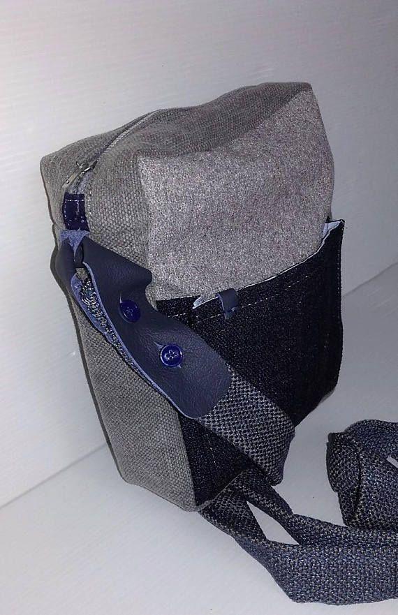 Sacoche bandoulière homme pochette messenger cuir et tissu, cadeau pour hommes, cadeau st valentin, sacs hommes créateur