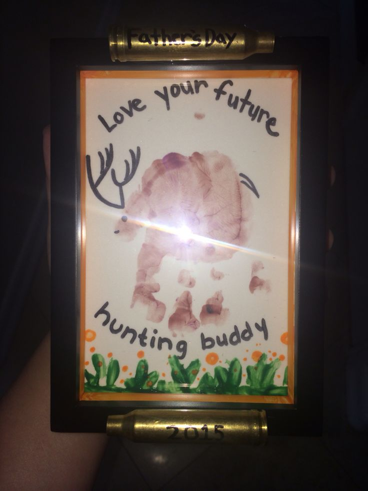1st Father's Day gift from my son to his dad. Baby handprint, shotgun shells, deer, hunting buddy, art project, keepsake, non-toxic finger paint