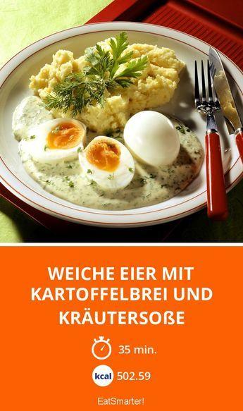 Weiche Eier mit Kartoffelbrei und Kräutersoße