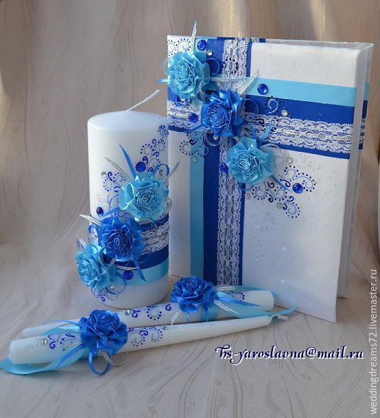 """Купить Свадебный набор """"Небесная палитра"""" - тёмно-синий, свадебные аксессуары, семейный очаг"""