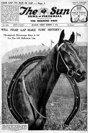 Herald Sun: The Sun News Pictorial featuring Phar Lap in 1931. I have this as a single bed quilt cover with pillowcase, part of the merchandise released at the time of the biopic of his life.