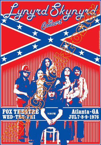 279 - LYNYRD SKYNYRD - Atlanta, Us - 7 july 1976  - artistic concert poster