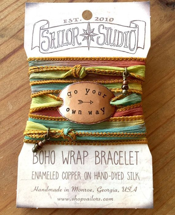 Silk wrap bracelet go your own way Boho Silk Wrap by SailorStudio