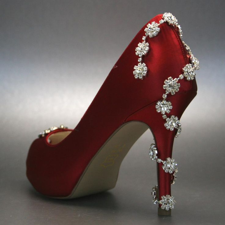 Red Wedding Heels With Some Heel Bling